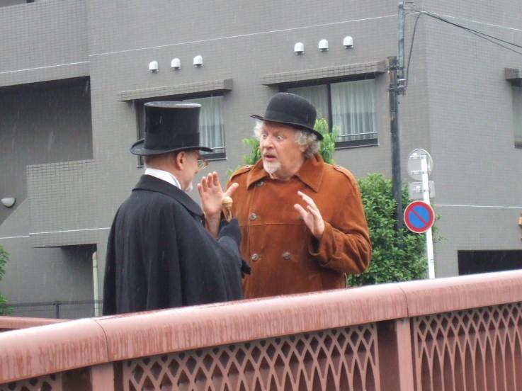 Srooge and Portly Gentleman on Bridge